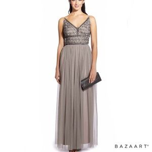 NWT Adrianna Papell beaded bodice gown platinum